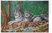 Схема вышивки бисером на атласе Пара волков
