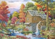 Схема вишивкі бісером на габардині Осінній пейзаж