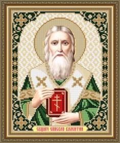 Схема вышивки бисером на габардине Священомученик Епископ Валентин