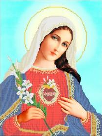 Схема на габардине для вышивки бисером Непорочное сердце Марии