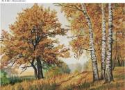 Схема для вышивки бисером на габардине Осенний лес