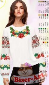 Заготовка вышиванки Женской сорочки на белом габардине Biser-Art SZ101 - 320.00грн.