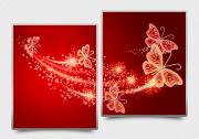 Схема для вышивки бисером на атласе Ажурные бабочки (красный) Диптих