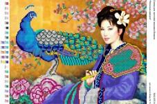 Схема для вышивки бисером на атласе Японська красуня Вишиванка А3-207 атлас