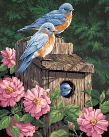 Набор для выкладки алмазной мозаикой Птичий дом в пионах