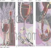 Схема вышивки бисером на атласе Вино (Триптих)