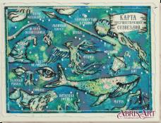 Набор для вышивки бисером на холсте Карта несуществующих созвездий Абрис Арт АВ-686