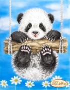 Схема вышивки бисером на атласе Ромашковая панда