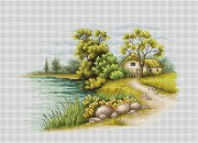 Набор для вышивки крестом Пейзаж с озером