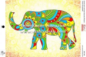 Схема вышивки бисером на габардине Слон цветной