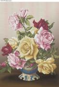 Схема для вышивки бисером на габардине Букет роз