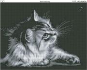 Схема вышивки бисером на габардине Котёнок ловит муху