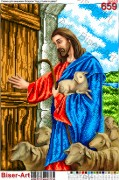 Схема вышивки бисером на габардине Ісус Христос стукає в двері