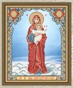 Схема для вышивки бисером на габардине Богородица Благодатное небо