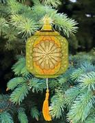 Набор для вышивки нитками Новогодняя игрушка Золотистый фонарик