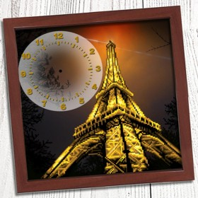 Схема вышивки бисером (нитками) на габардине Годинник Вечірній париж