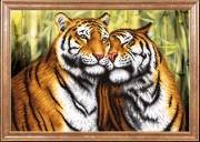 Схема вышивки бисером на габардине Пара тигров
