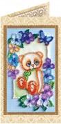Набор - открытка для вышивки бисером Мишка Тедди 2