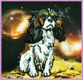 Набор для вышивания бисером на габардине Символ года Собаки, , 172.00грн., Р-324, Картины бисером, Новый год
