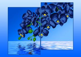Схема для вышивки бисером на атласе Орхидеи Голубые (Диптих), , 285.00грн., АР2-009, А-строчка, Картины из нескольких частей