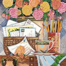 Схема вышивки бисером на холсте Шелест писем