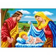 Схема вышивки бисером на габардине Святое семейство