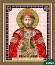 Схема вышивки бисером на габардине Святой князь Борис Art Solo VIA4048