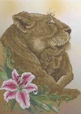 Схема вишивкі бісером на габардині Південно-африканськи леви Acorns А3-К-890