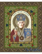 Схема для вышивки бисером на атласе Икона Святой Николай Чудотворец