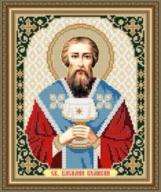 Схема вышивки бисером на габардине Св.Василий Великий