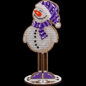 Набор для вышивки бисером по дереву Снеговик