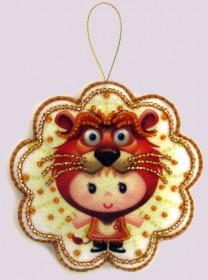 Набор для изготовления игрушки из фетра для вышивки бисером Лев