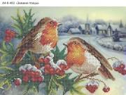 Схема для вышивки бисером на габардине Зимние птицы