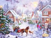 Схема для вышивки бисером на атласе Рождественская деревня