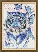 Набор для выкладки алмазной мозаикой Тигр синий