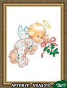 Рисунок на ткани для вышивки бисером Ангелочек с веточкой