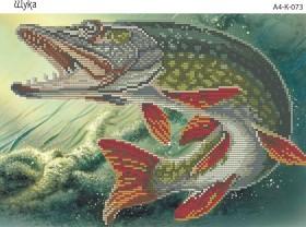 Схема для вышивки бисером на габардине Щука