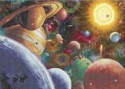 Схема вишивкі бісером на габардині Сонячна система