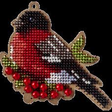 Набор для вышивки бисером по деоеву новогодней игрушки Снегирь ВышивкаБисером FLK-324