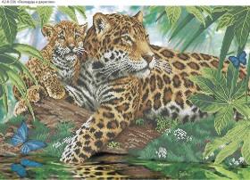Схема для вышивки бисером на габардине Леопарды в джунглях