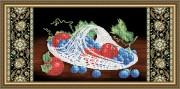 Схема вышивки бисером на габардине Хрусталь. Виноград и яблоки на чёрном