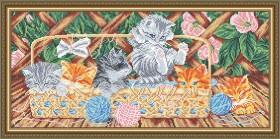 Схема вышивки бисером на габардине Котята на террасе