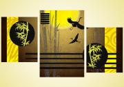 Схема для вышивки бисером на атласе Журавлиный танец Триптих (серия элит)