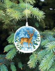 Набор для вышивки нитками Новогодняя игрушка Снежный олень Чарiвна мить (Чаривна мить) Т-16