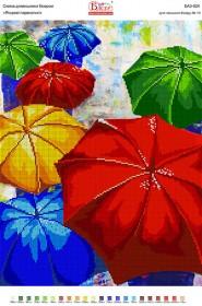 Схема вышивки бисером на габардине Яркие зонтики