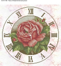 Схема для вышивки бисером на габардине Часы Романтическая Роза, , 70.00грн., А3-К-148, Acorns, Цветы
