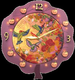 Набор для создания часов с вышитой основой Райские птички, , 531.00грн., РТ6515, Новая Слобода (Нова слобода), Часы