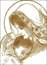 Схема вышивки бисером на габардине Мадонна та дитя Эдельвейс С-227