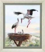 Набор для частичной вышивки крестиком  Аисты в гнезде