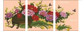 Схема вышивки бисером на габардине Триптих Цветы в корзине Эдельвейс ТС3-06 - 180.00грн.
